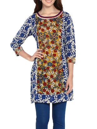 soch blue cotton straight kurti