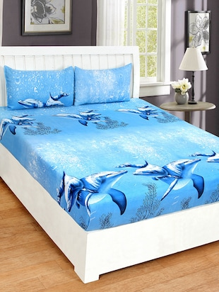 Digital Print Double Bed sheet with 2 Pillow covers -  online shopping for bed sheet sets