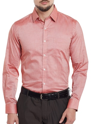 pink cotton blend formal shirt