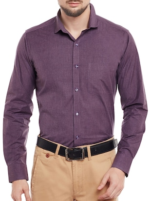 purple cotton blend formal shirt