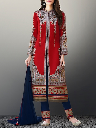 red georgette semi-stitched suit