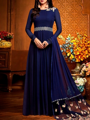 blue georgette flared semi-stitched suit
