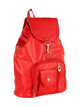 red leatherette  regular backpack