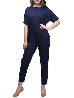 navy blue rayon full leg  jumpsuit