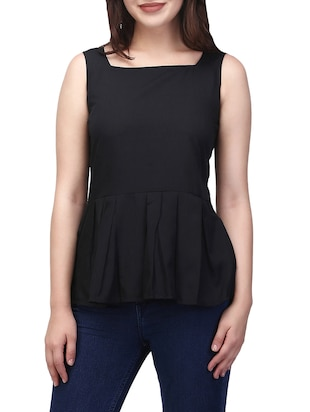 black crepe peplum top