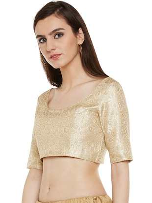 gold polyester brocade blouse
