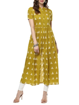 mustard cotton high-slit kurta