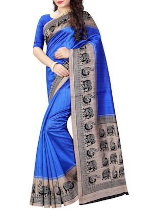 blue art silk bhagalpuri saree