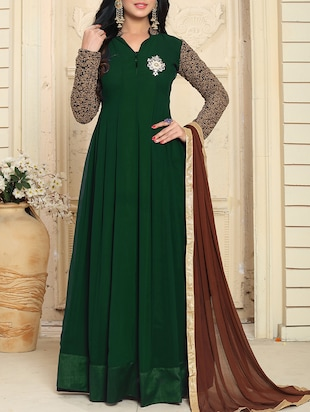 green georgette anarkali semi-stitched suit
