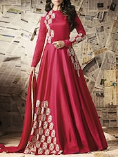 red georgette anarkali semistitched suit -  online shopping for Semi-Stitched Suits