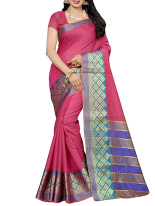 Magenta cotton silk bordered saree with blouse