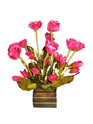 Loxiaa pink rose Artificial flower with pot