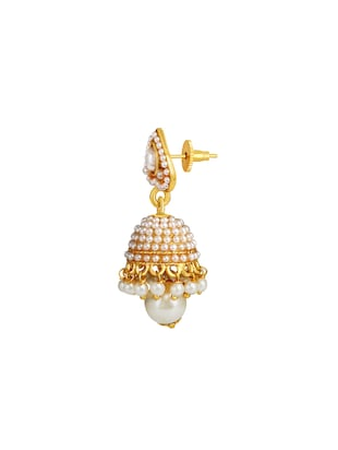 white metal jhumka earrings - 14161653 - Standard Image - 2