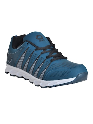 blue leatherette lace up sport shoe