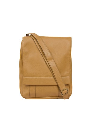 beige  leatherette  regular sling bag