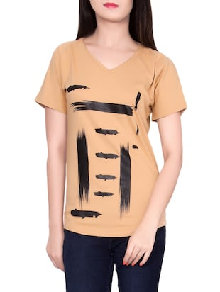 brown cotton casual tee