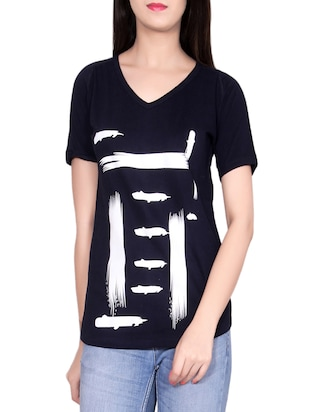 navy blue cotton casual tee