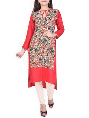 Multicolored rayon high-low kurta