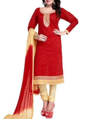 red unstitched churidaar suits dress material