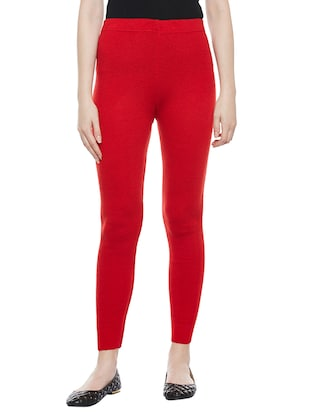 solid red woolen legging