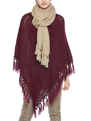 beige woolen casual stole -  online shopping for stoles