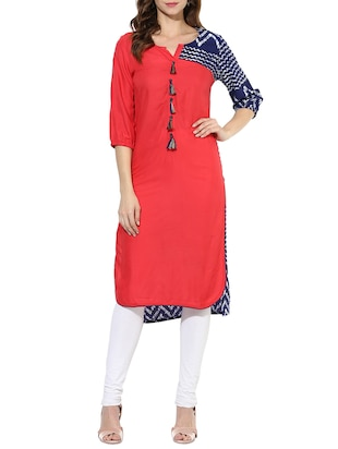pink rayon high low kurta