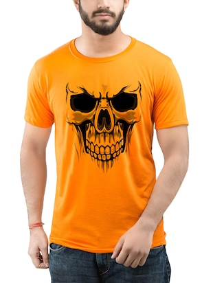 orange cotton chest print t-shirt -  online shopping for T-Shirts