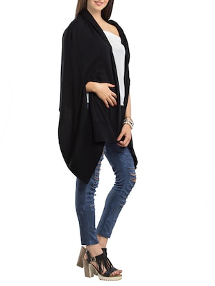 solid black cotton shrug - 14178412 - Standard Image - 2