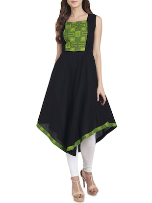 black cotton asymmetric kurta