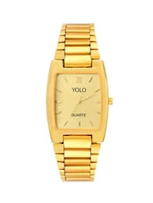 Yolo Men'z Golden Rectangular Dial with Golden Metal Strap Wrist Watch -  online shopping for Men Analog Watches