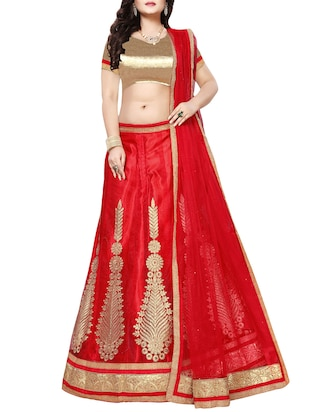 red a-line embroidered lehenga