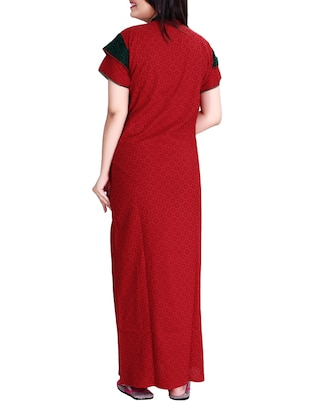 red printed cotton gown - 14182146 - Standard Image - 2