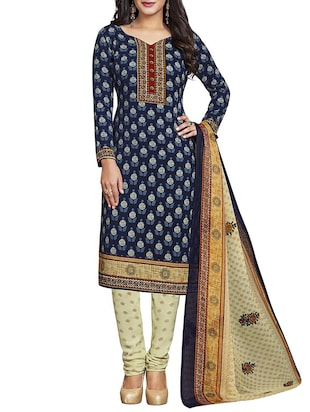Blue unstitched churidaar suit dress material