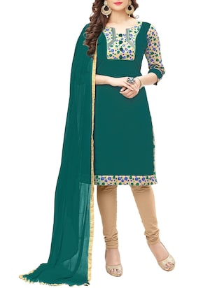 green unstitched churidaar suit dress material -  online shopping for Dress Material