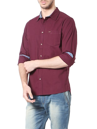 red cotton casual shirt - 14188754 - Standard Image - 2