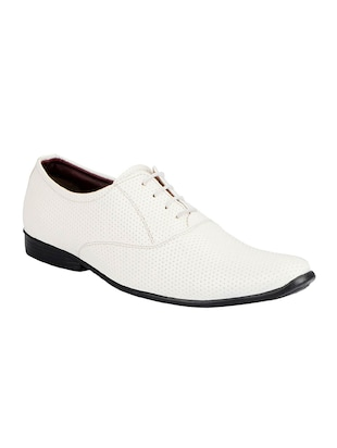 white leatherette lace-up oxford -  online shopping for Oxfords