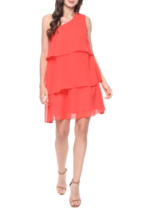 coral red poly georgette layered dress