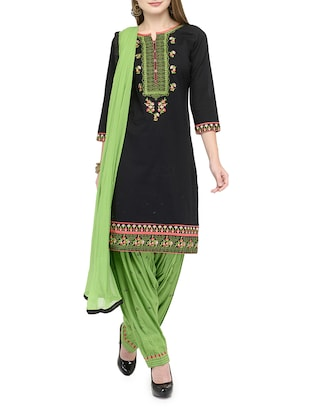 black satin patiyala suits dress material