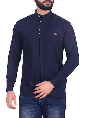 navy blue cotton blend casual shirt