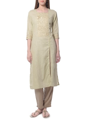 beige cotton straight kurta