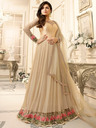 Beige unstitched flared suits