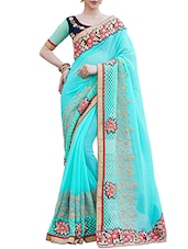 Turquoise embroidered saree -  online shopping for Sarees