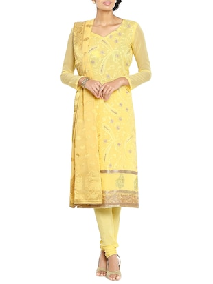 Soch yellow churidaar unstitched suit