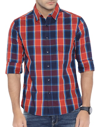 red cotton blend casual shirt