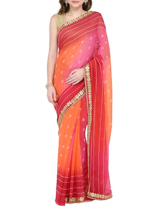 multi colored poly georgette bandhani saree