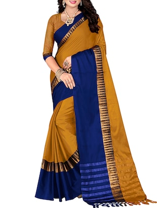 mustard cotton silk bordered saree with blouse
