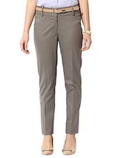 beige polyester flat front trouser -  online shopping for Trousers