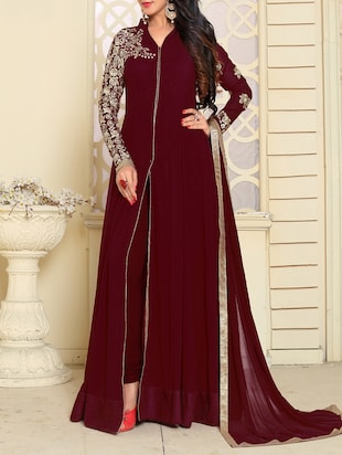 maroon a-line semi-stitched suit