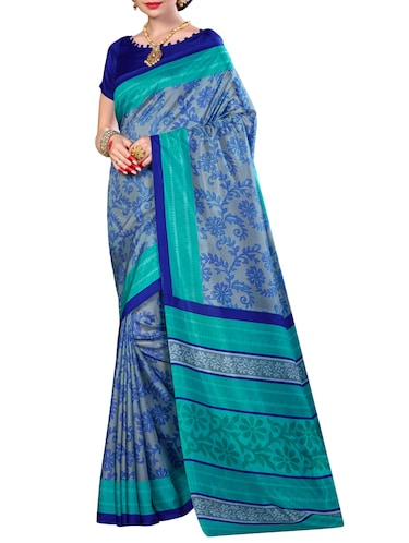 Grey  printed saree with blouse - 14219006 - Standard Image - 1