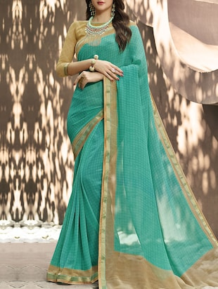 green georgette bordered saree